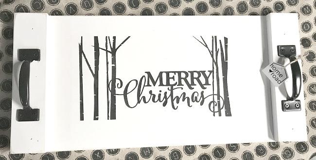 Merry Christmas Vinyl on white wooden tray