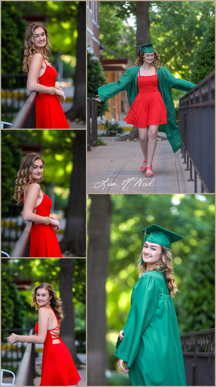 pretty blond teen in red dress and cap and gown Texas photographer