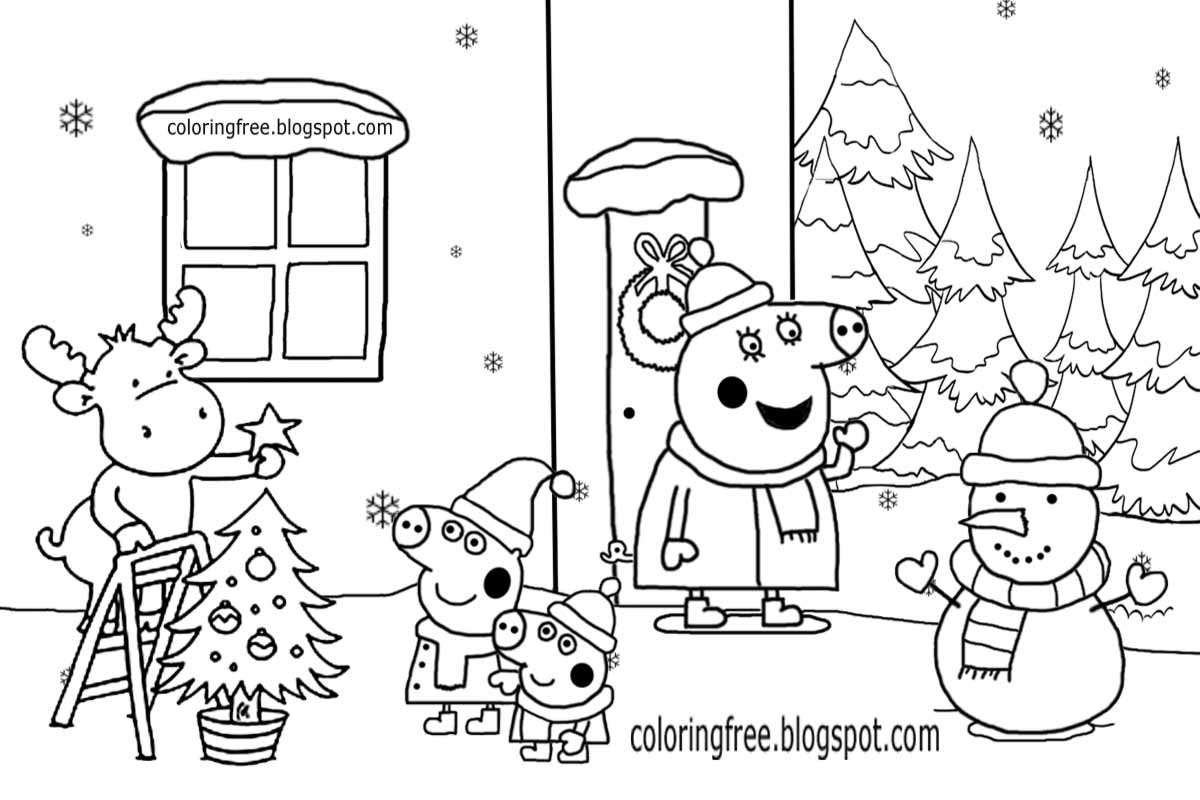 Xmas tree decor house of peppa pig christmas coloring pages snowman reindeer easy drawing for kids