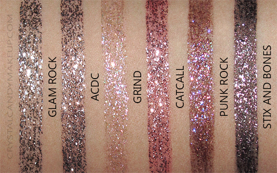 Urban Decay Heavy Metal Glitter Eyeliners Swatches Glam Rock ACDC Grind Catcall Punk Rock Stix Bones