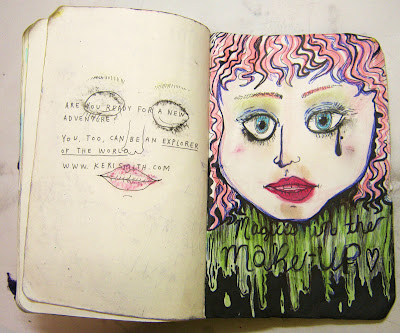 Magic's in the makeup! So I put makeup all over the back cover of my Journal. _Now it's beautiful_.
