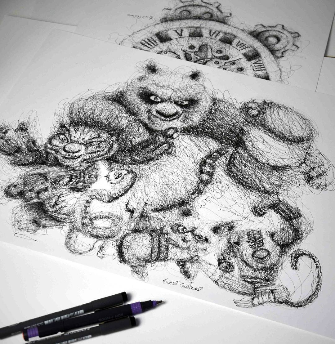 23-Kung-Fu-Panda-3-Jack Black-Erick-Centeno-Superheroes-Celebrities-and-Cartoons-Scribble-Drawings-www-designstack-co