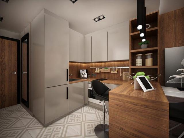Không gian phòng bếp căn hộ 25m2