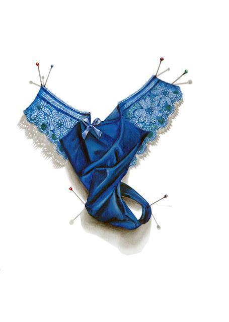 String bleu en velour avec broderies bleues proposé par Clémence