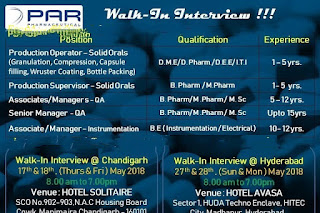 PAR Pharmaceuticals– Walk-In Interviews for Multiple Positions on 17th & 18th May @ Chandigarh / 27th & 28th May, 2018 @ Hyderabad