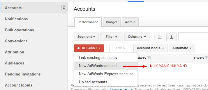 Klik New AdWords account