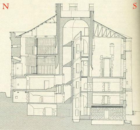 Elévation et coupe du château de Maulnes.