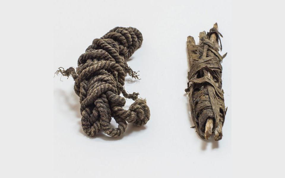 Cuerda de arco y tendones en bruto transportados por Ötzi en su carcaj. Foto: South Tyrol Museum of Archaeology
