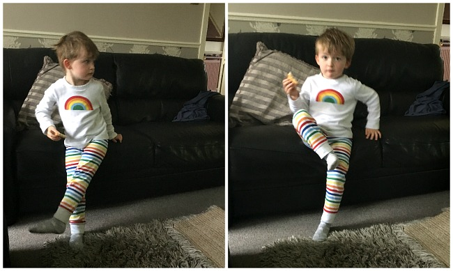 two images-toddler-dancing-and-toddler-paused-with-foot-in-the-air