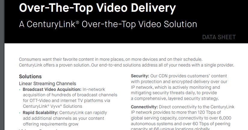 Converge! Network Digest: CenturyLink's Global Broadcast