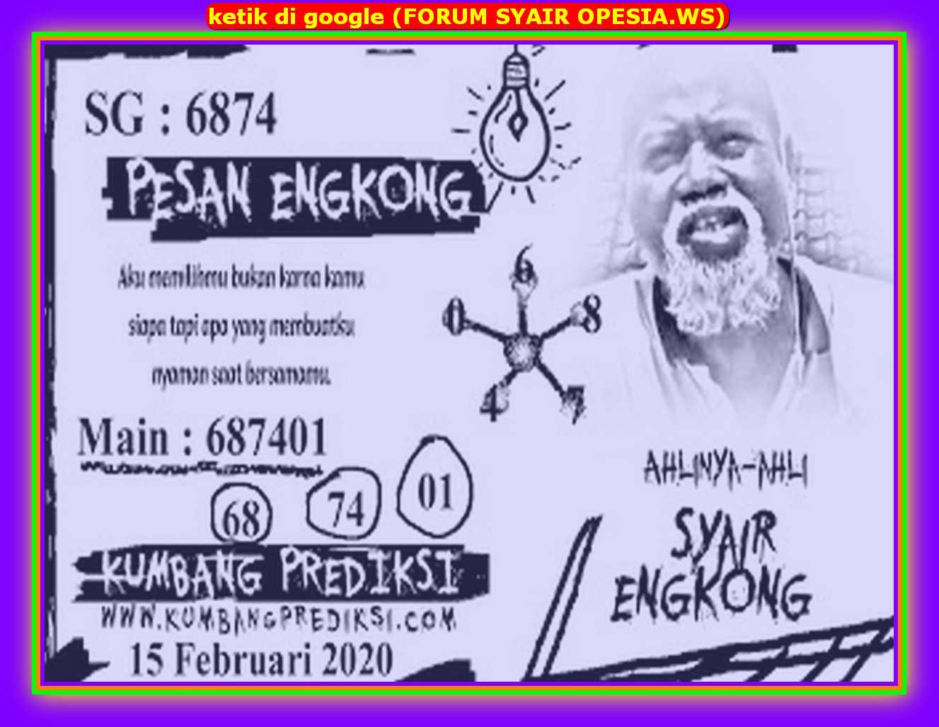 Kode syair Singapore Sabtu 15 Februari 2020 83