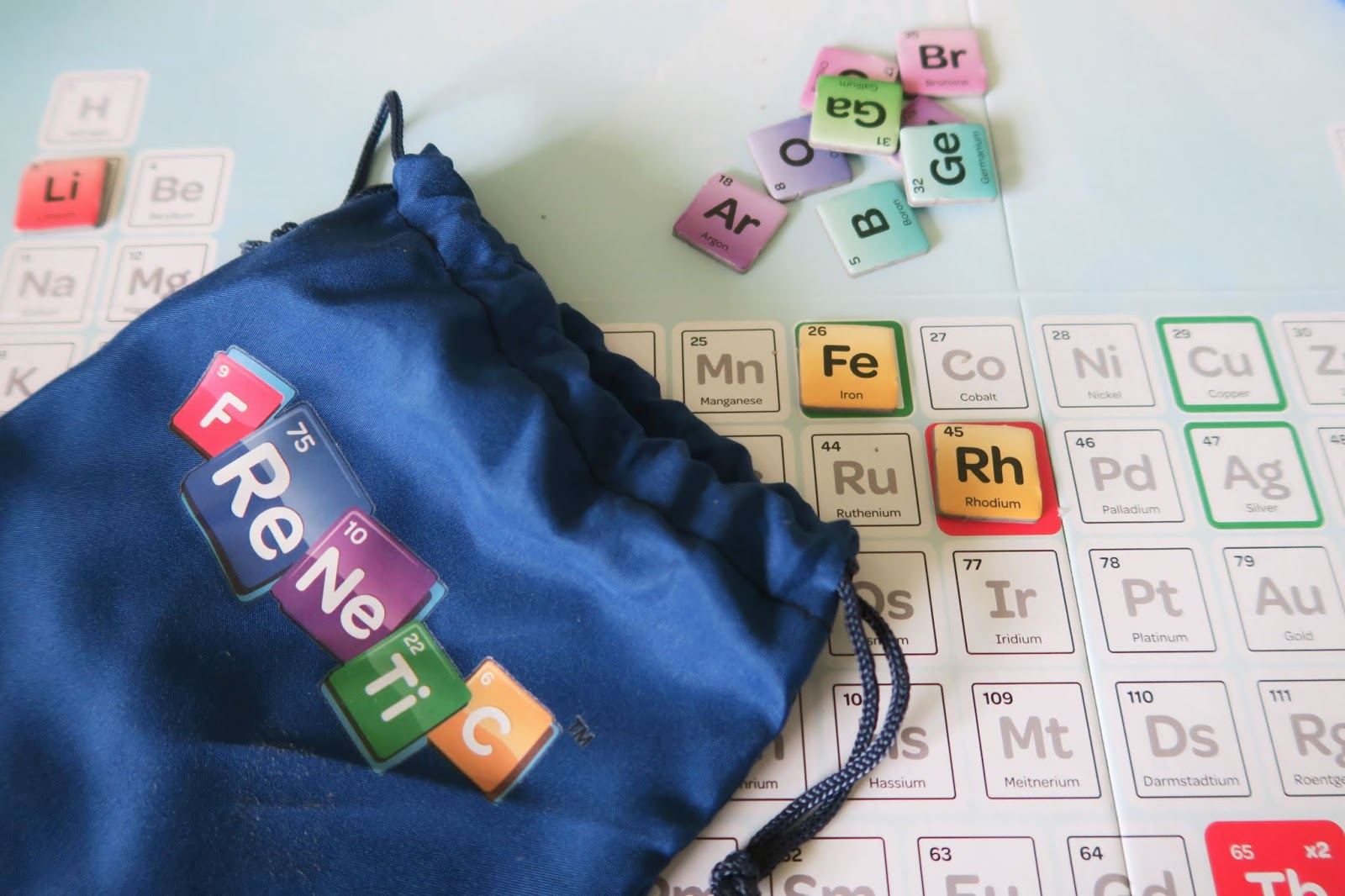 A close up of the Frenetic game. It shows the bag that the letters live in.
