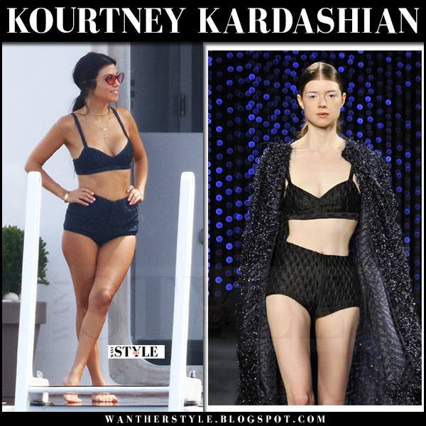 Kourtney Kardashian in black retro bikini milly what she wore cannes may 23 2017