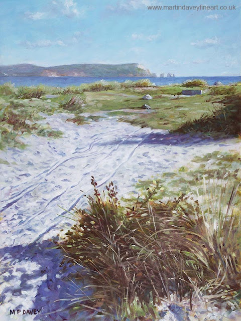 martin Davey oil painting sandy hengistbury head