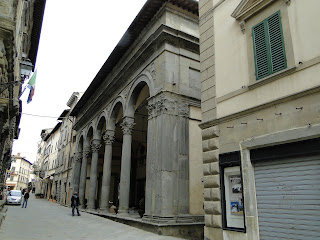 The Loggia dei Mercanti in Monte San Savino, where Sarri enjoyed success with the local team, Sansovino
