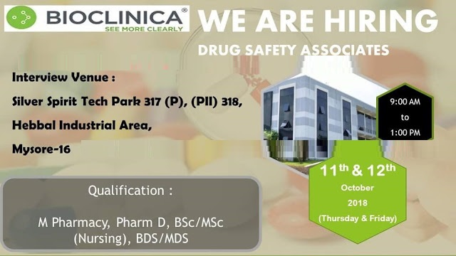 BIOCLINICA Walk In Interview for Freshers M.Pharm, D.Pharm, B.Sc, M.Sc, BDS/MDS at 11&12 October