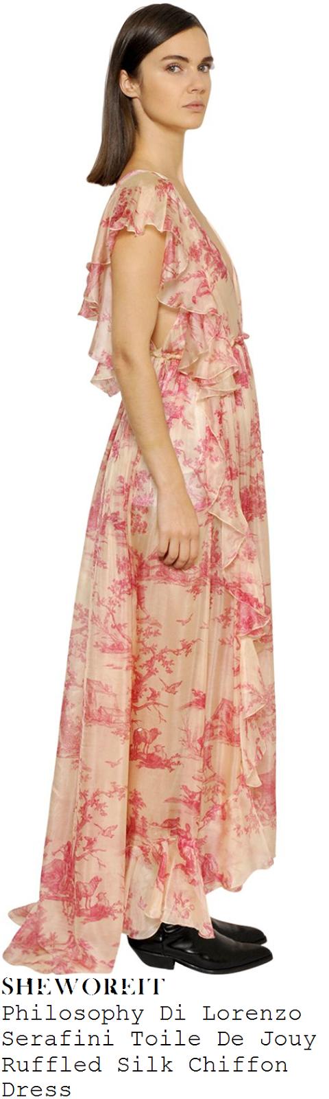 danielle-bux-philosophy-di-lorenzo-serafini-toile-de-jouy-cream-and-pink-ruffle-silk-maxi-dress