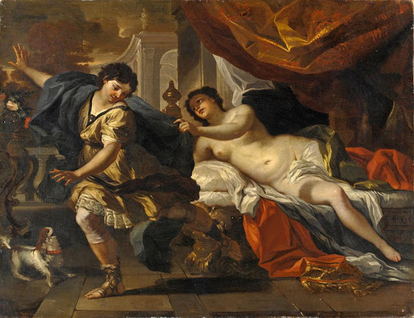Joseph And Potiphar's Wife by Francesco Solimena, Illustrated Bible Stories, Old Testament Stories, Religious art, Sacred art, Hebrew events