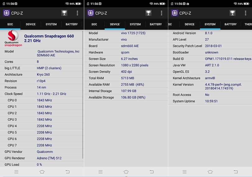 Vivo X21 CPU-Z Info