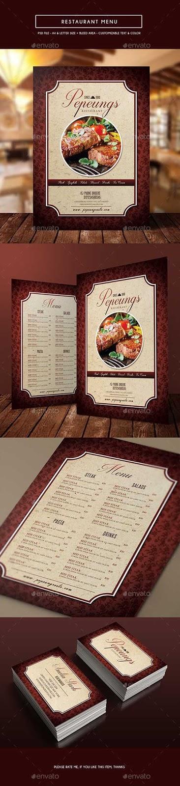 قائمة طعام لمطعم PSD، ملف PSD لقائمة طعام، ملف PSD جاهز