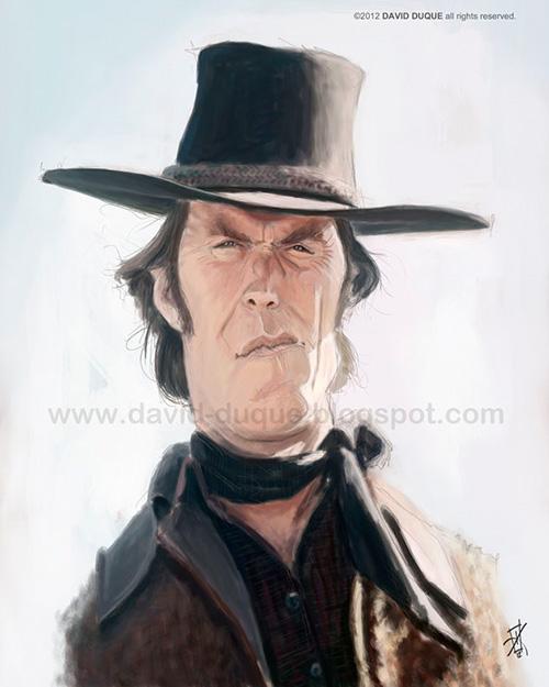 """Caricatura de """"Clint Eastwood"""" por David Duque"""