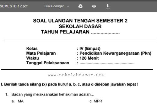 Soal Latihan Uts Pkn Kelas 4 Sd Mi Semester 2 Sekolahdasar Net