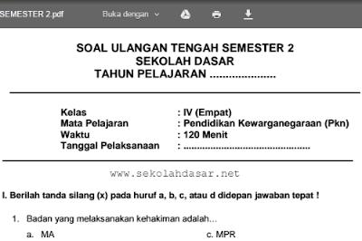 Download soal UTS semester 2 untuk kelas 4 SD/MI mata pelajaran PKn.