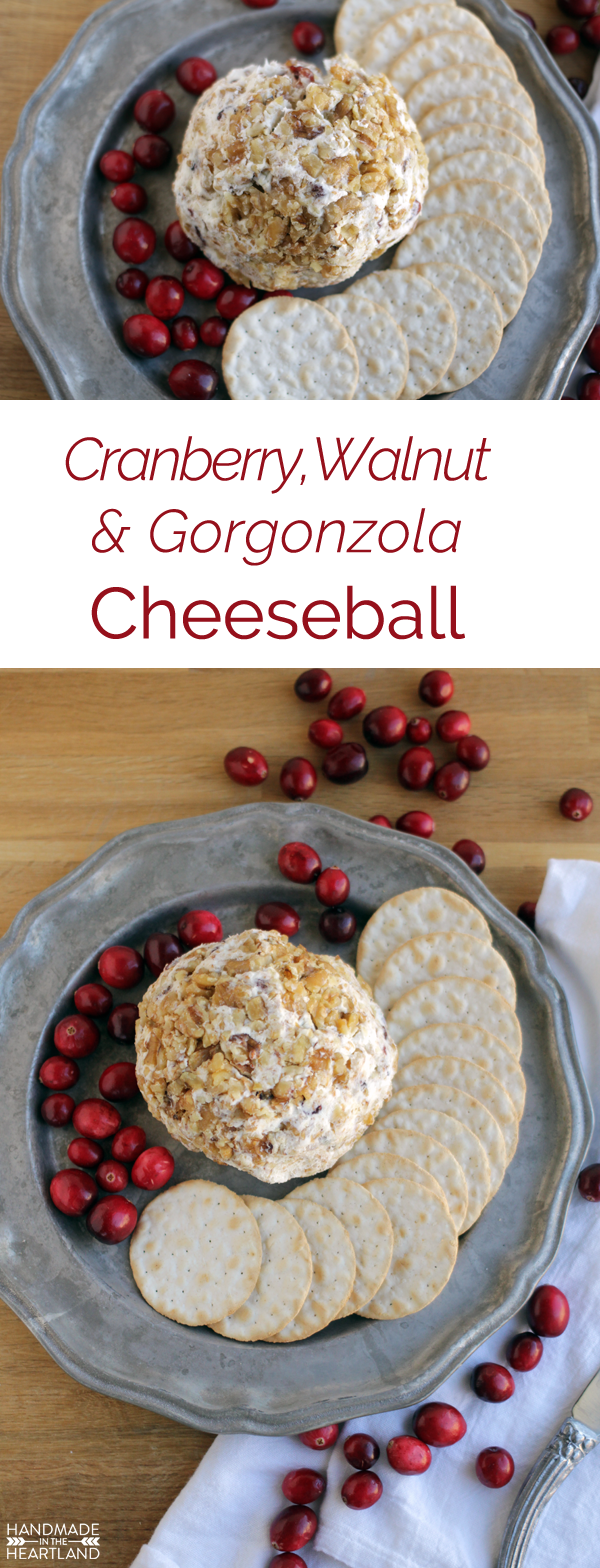 Quick, easy crowd pleasing recipe for cranberry, walnut and gorgonzola cheeseball.