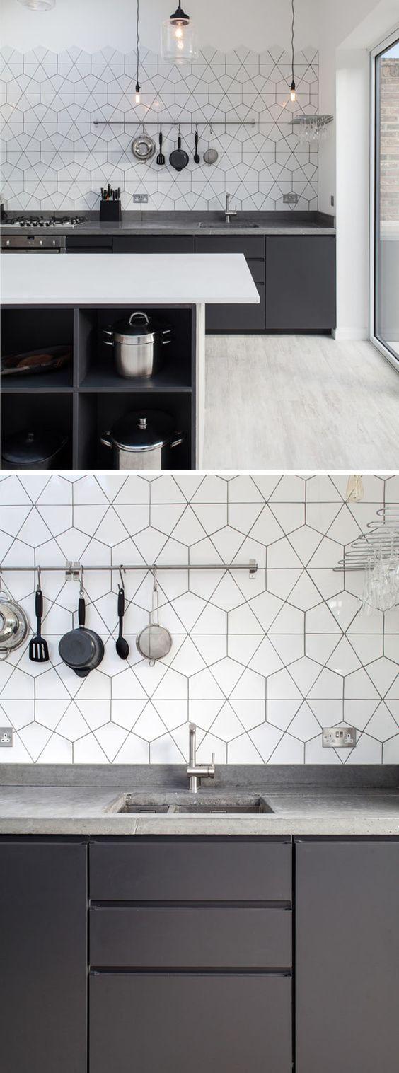 płytki heksagony, białe heksagony, płytki do kuchni