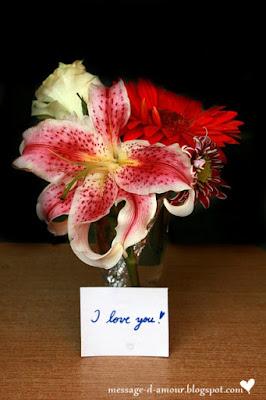 bouquet de fleurs texte d'amour