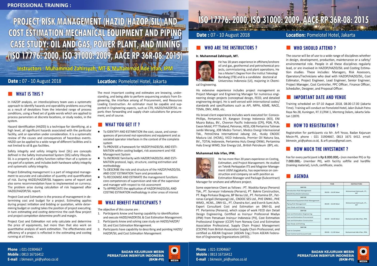 PROFESSIONAL TRAINING : PROJECT RISK MANAGEMENT (HAZID/HAZOP