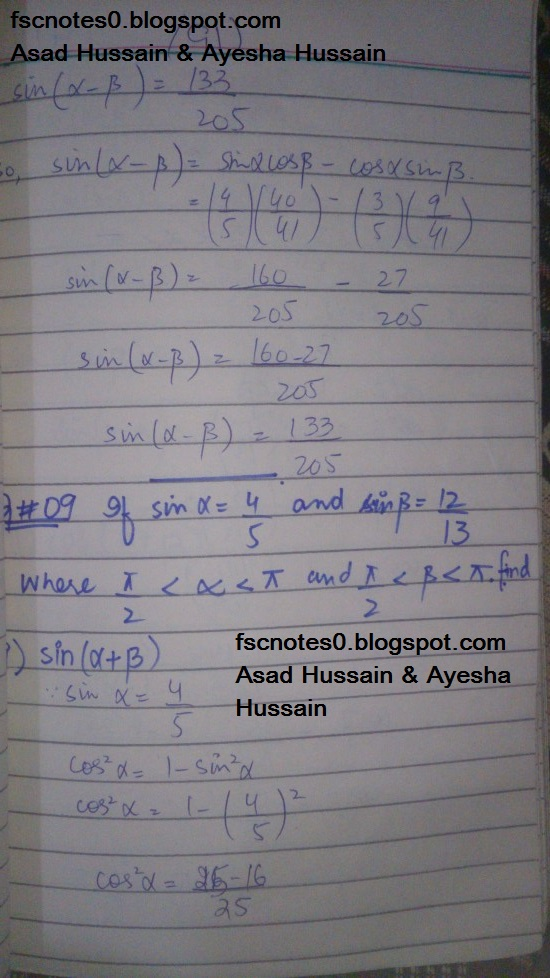 FSc ICS FA Notes Math Part 1 Chapter 10 Trigonometric Identities Exercise 10.2 Question 9 Written by Asad Hussain & Ayesha Hussain