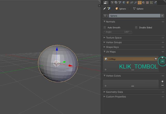 Bagian-bagian tutorial menghapus UV Mapping di Blender 3D