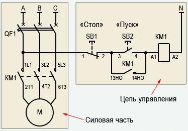 подключения магнитного пускателя к электродвигателю