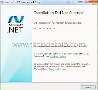 Mengatasi Error HRESULT 0Xc8000222 NET Framework 4.0