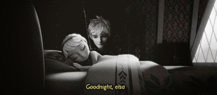 Gambar Elsa Frozen sedang tidur ditemanin Jack di sampingnya