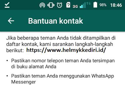 mengatasi kontak whatsapp tidak muncul