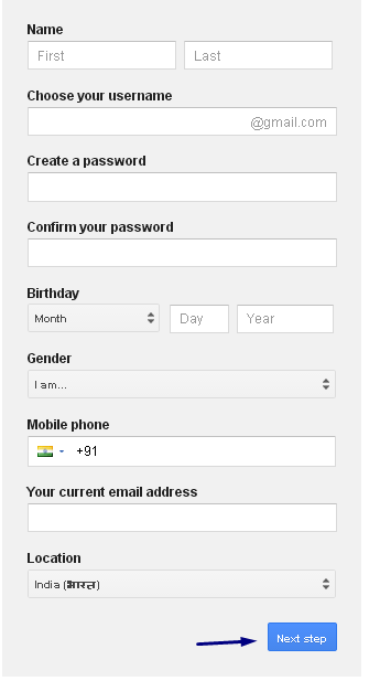 Gmail Signup Form