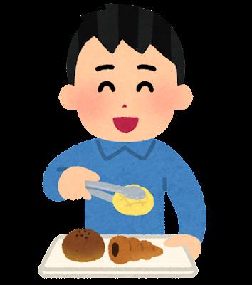 トレイにパンを乗せる人のイラスト(男性)