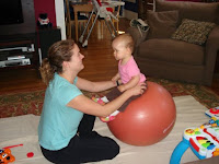 Bouncing on a Therapy ball for sensory input