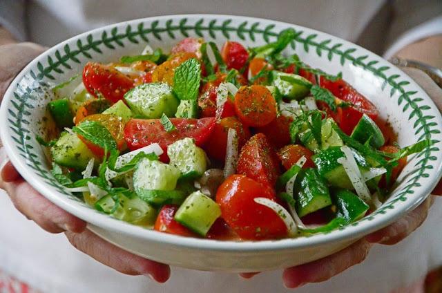 Lebanese Cucumber & Tomato Salad with Mint
