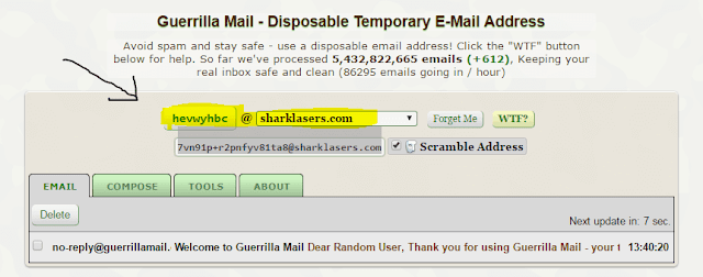 guerrilla email to create facebook account