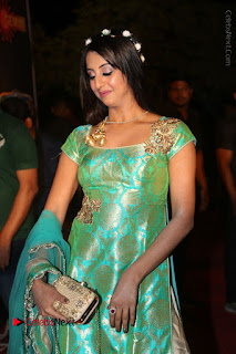 Actress Sanjjanaa Stills in Green Long Dress at Gemini TV Puraskaralu 2016 Event  0024.JPG