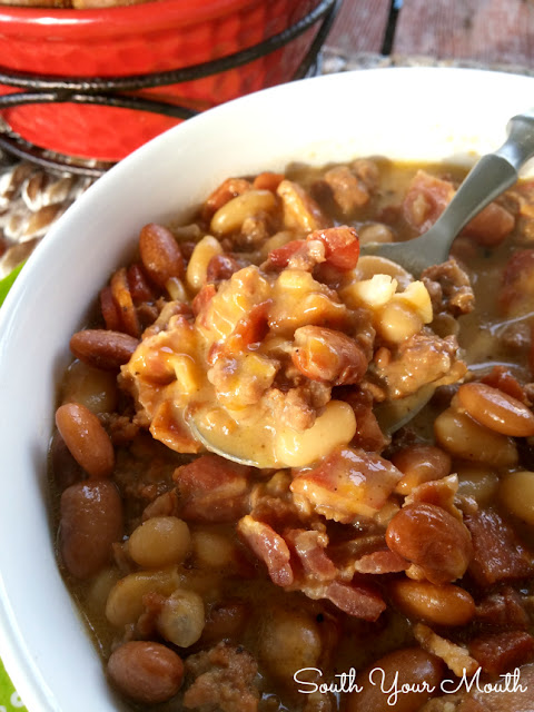 Bean & Bacon Cheeseburger Soup! All the smoky goodness of tradition Bean & Bacon soup with chunks of ground beef and gobs of creamy cheese.
