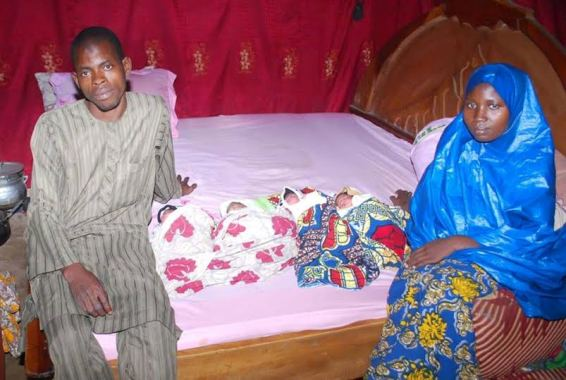 Photos: Woman gives birth to quadruplets in Kaduna State, one dies