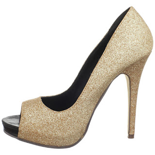 black Michael Antonio designer shoes - gold glitter shoes