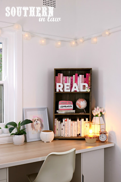 Cosy Winter Home Styling Inspiration – Pink and Grey Decor Theme for Bedroom, Living Room or Home Office on a Budget - DIY Pallet Wood Bookshelf with Pink and Rose Gold