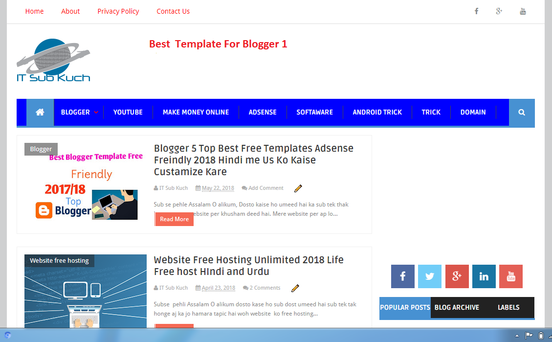 Blogger Top Best Free Templates Adsense Freindly 2018 Hindi Me Us Ko