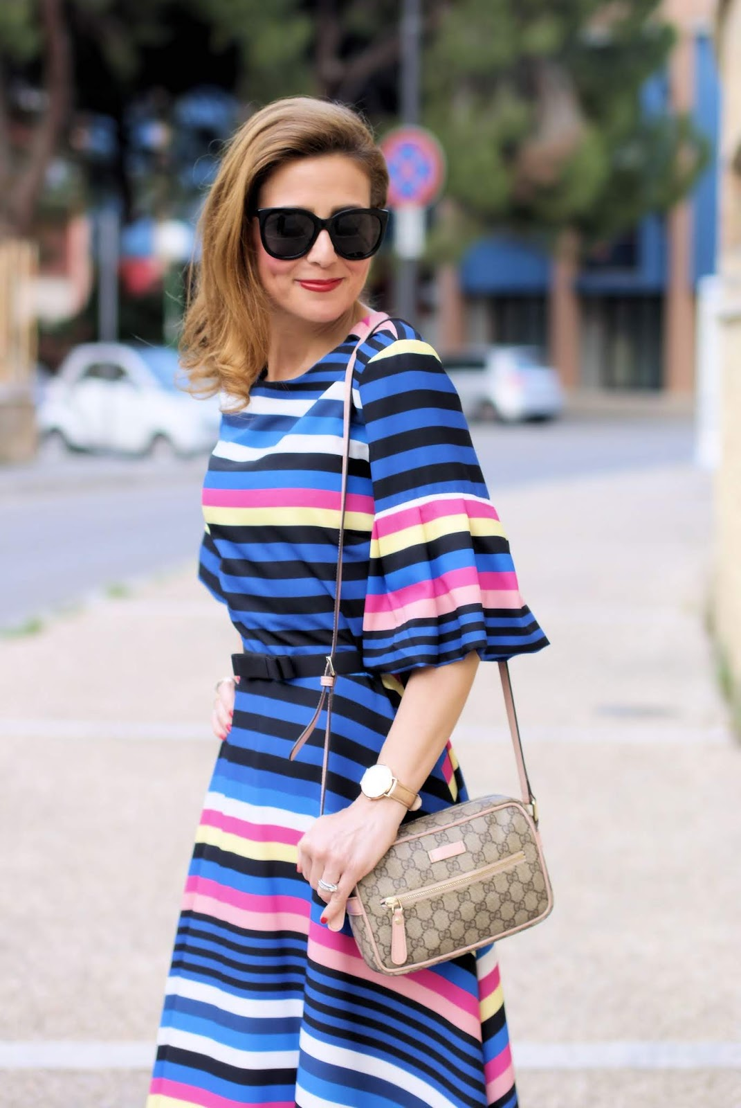 Striped dress on Fashion and Cookies fashion blog, fashion blogger style