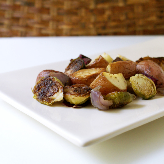 Roasted Brussels Sprouts and Red Potatoes